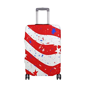 Luggage Protective Covers with USA Flag Washable Travel Luggage Cover 18-32 Inch