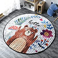 GABWE Kids Play Mat Kids Round Rug Children Play Rugs Foldable Soft Toys Storage Organizer 59 inches