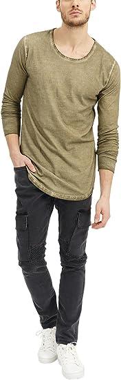 TALLA S. trueprodigy Casual Marca Camiseta Manga Larga para Hombre Basico Ropa Retro Vintage Rock Vestir Moda Cuello Redondo Slim fit Designer Fashion Shirt