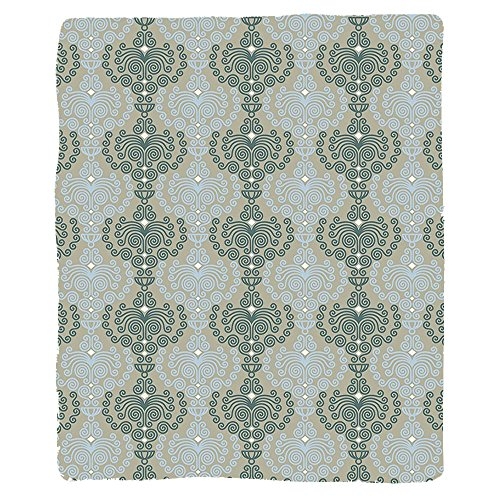 VROSELV Custom Blanket Decorative Abstract Art Damask Floral Ornament Background Wallpaper Pattern Print Soft Fleece Throw Blanket Blue and Taupe