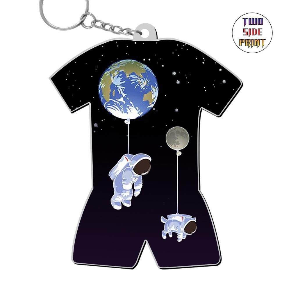 Zinc Alloy Home Key Ring,Print Astronaut Balloon Planet,Gift For Boys Girls