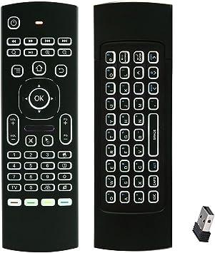 (con retroiluminación LED, aprendizaje de códigos IR) FATMOON Mini 2,4 G inalámbrico de ratón y teclado retroiluminado teclado Combo,Mando a ...