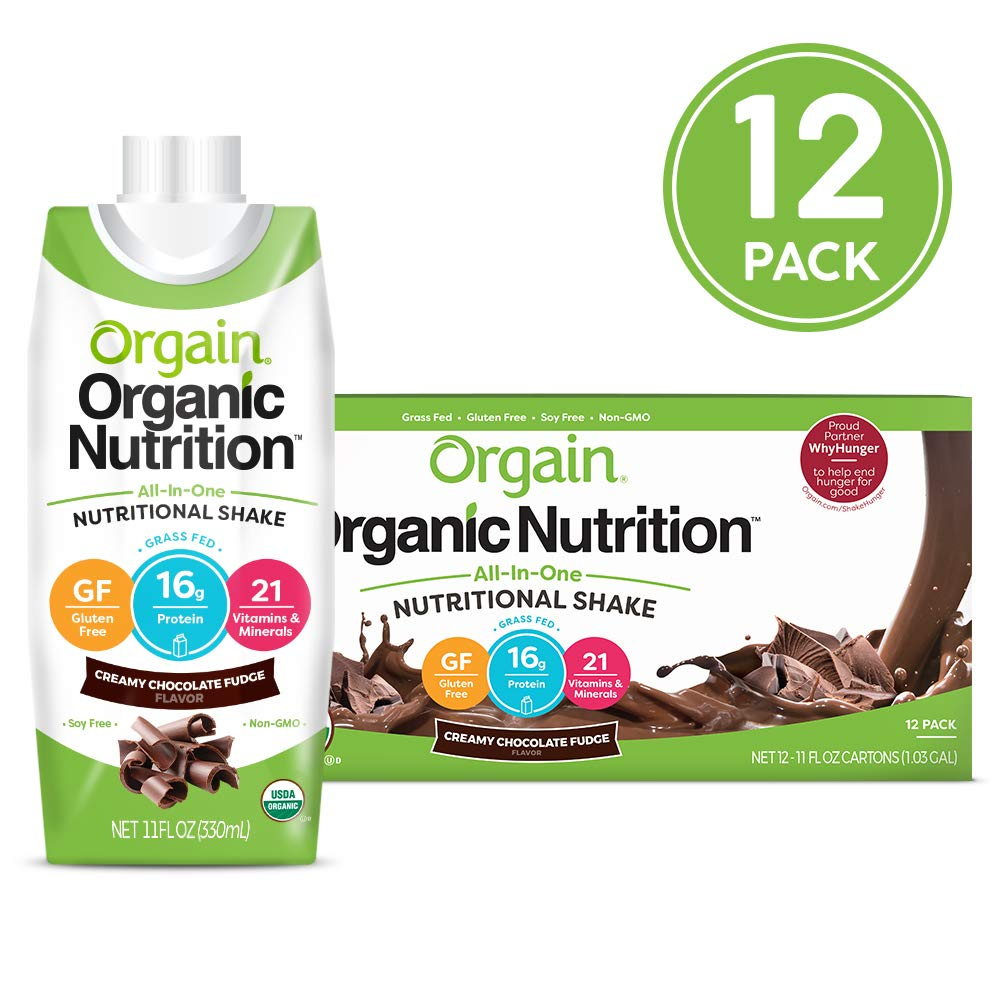 Orgain Organic Nutritional Shake, Creamy Chocolate Fudge - Meal Replacement, 16g Protein, 21 Vitamins & Minerals, Gluten Free, Soy Free, Kosher, Non-GMO, 11 Ounce, 12 Count (Packaging May Vary) by Orgain