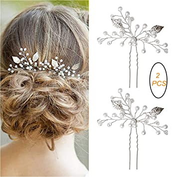 Amazon Com Sumaju 2 Pack Of Bridal Hair Pins Set Sliver Elegant