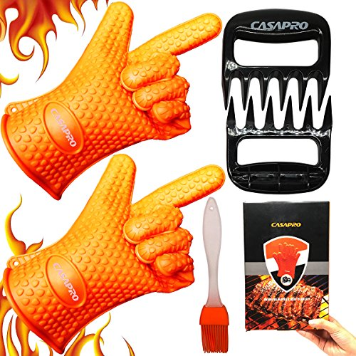 CASAPRO 5 piece Silicone Cooking Glove Meat Shredder - Including Heat Resistant Gloves, Solid Prong Meat Shredders and Silicone Basting Brush for Cooking, Grilling, Baking, Barbecue by CASAPRO