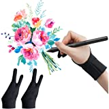 WOBEECO Drawing Glove, Two-Finger Artist Glove 2 Pack Anti Smudge for Paper Sketching, iPad, Graphics Drawing Tablet, Suitabl