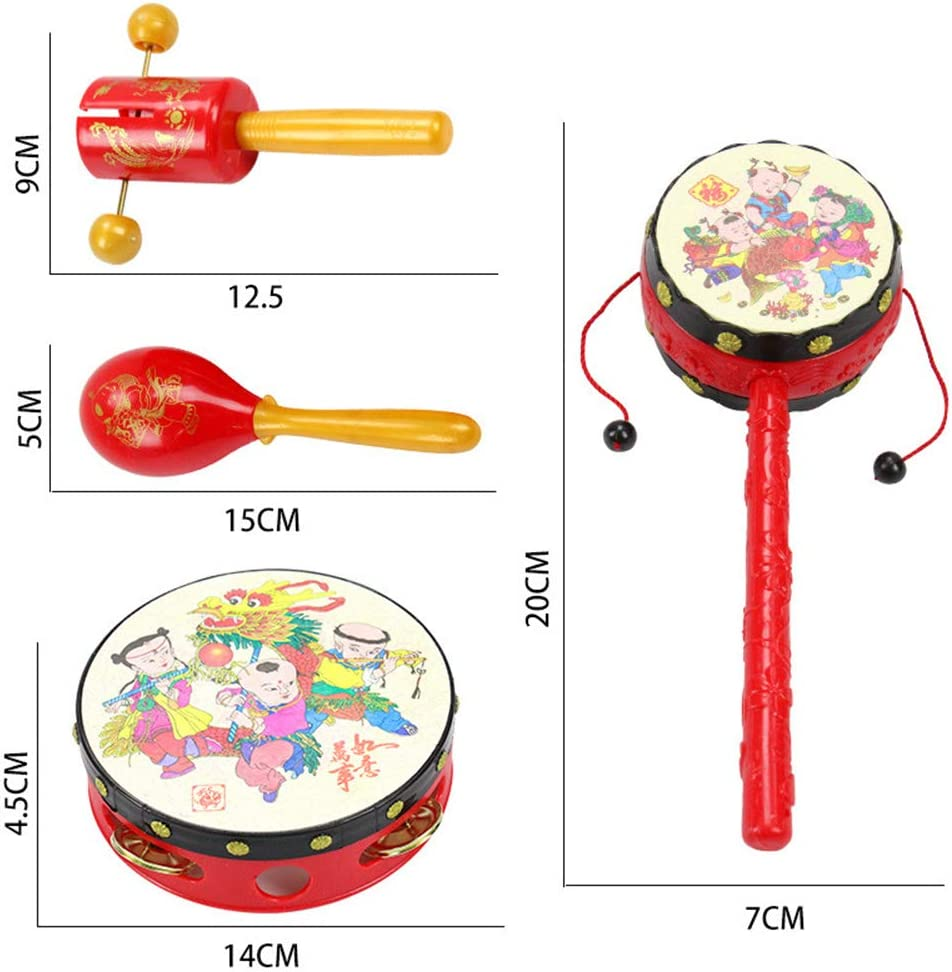 Fliyeong Creative 5PCS Chinese Festival Children Rattles Music Toy Baby Hand Bell Drums Percussion Fun Gift New Released
