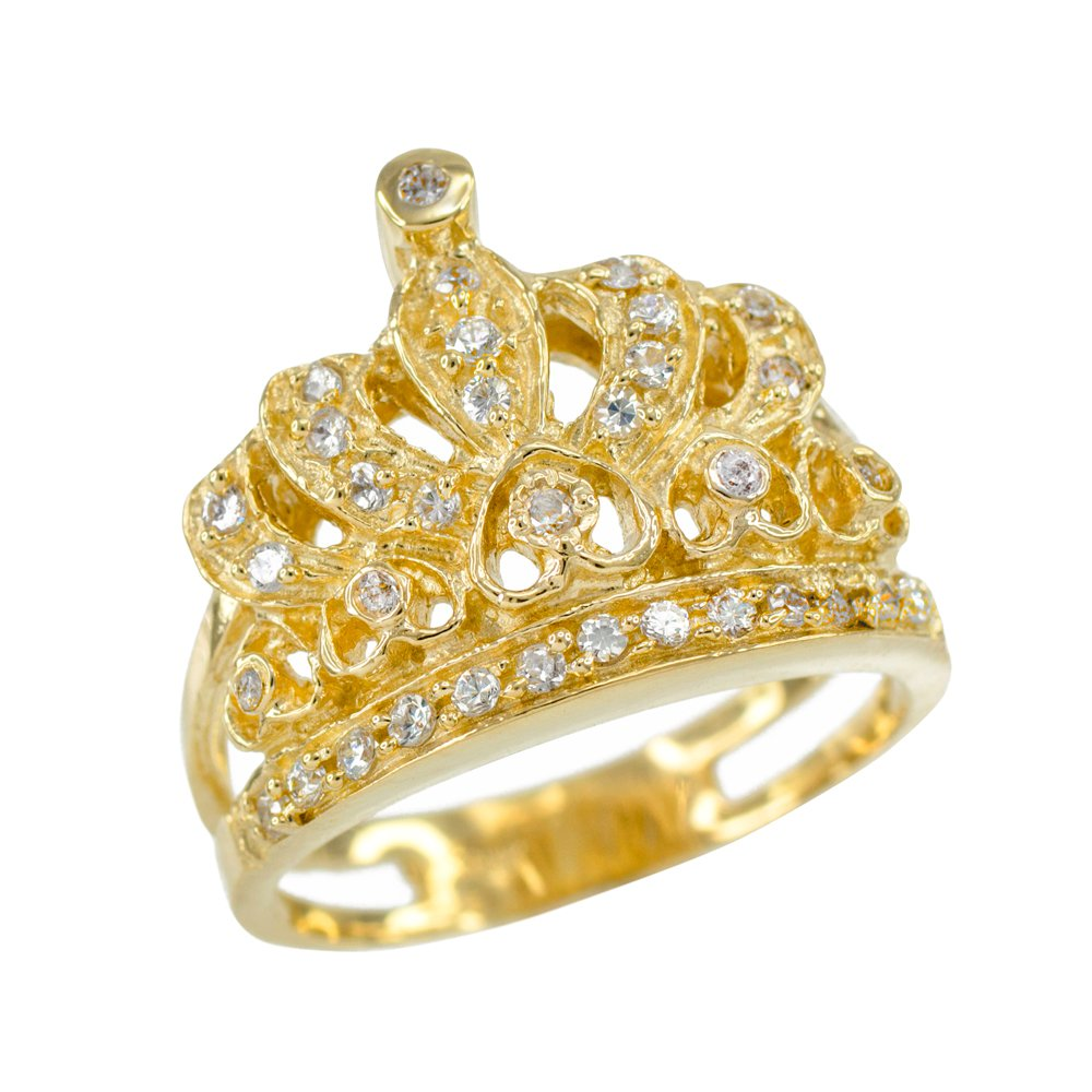 14k Yellow Gold CZ-Studded Crown Sweet 15 Años Quinceanera Ring (Size 7.25)