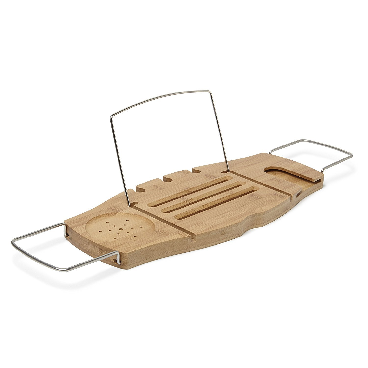 OrganizerLife Bamboo Bathtub Caddy Wood Tray Table with Non Slip Extending Sides | Wine Glass Holder