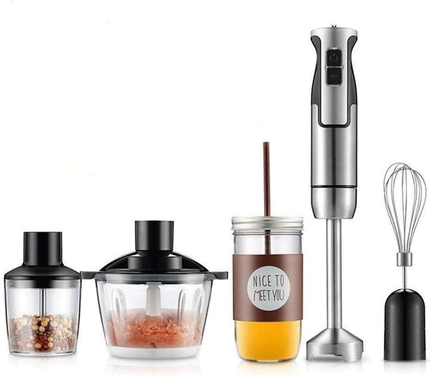 XIXIDIAN Multi-Purpose Hand Blender,12 Speed, 5-in-1 Multifunctional Hand Immersion Blender, 304 Stainless Steel Stick Blender, 500ml Food Processor, Whisk Attachment, BPA-Free