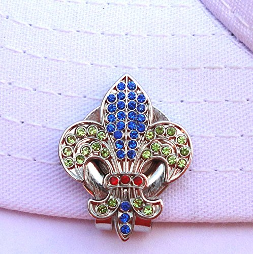 Fleur De Lis W / Colored Crystals And磁気帽子クリップ   B078PTMZCD