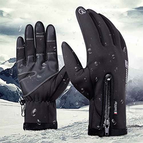 Lined Windproof Gloves (Winter Full Finger Touch Screen Waterproof Windproof Handmade Fleece Lined Thermal Gloves for Men Women Camping Cycling Outdoor)