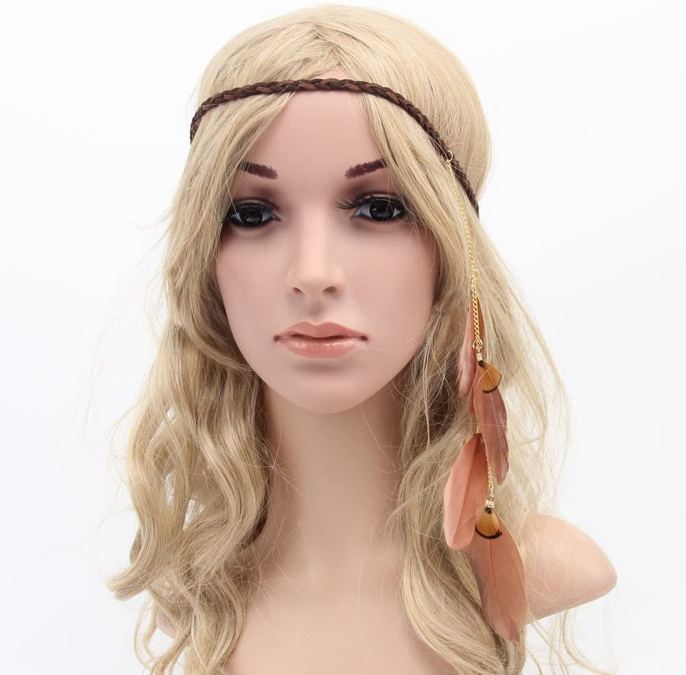 MANDI HOME Women Boho Style Festival Feather Headband Hippie Weave Hairband