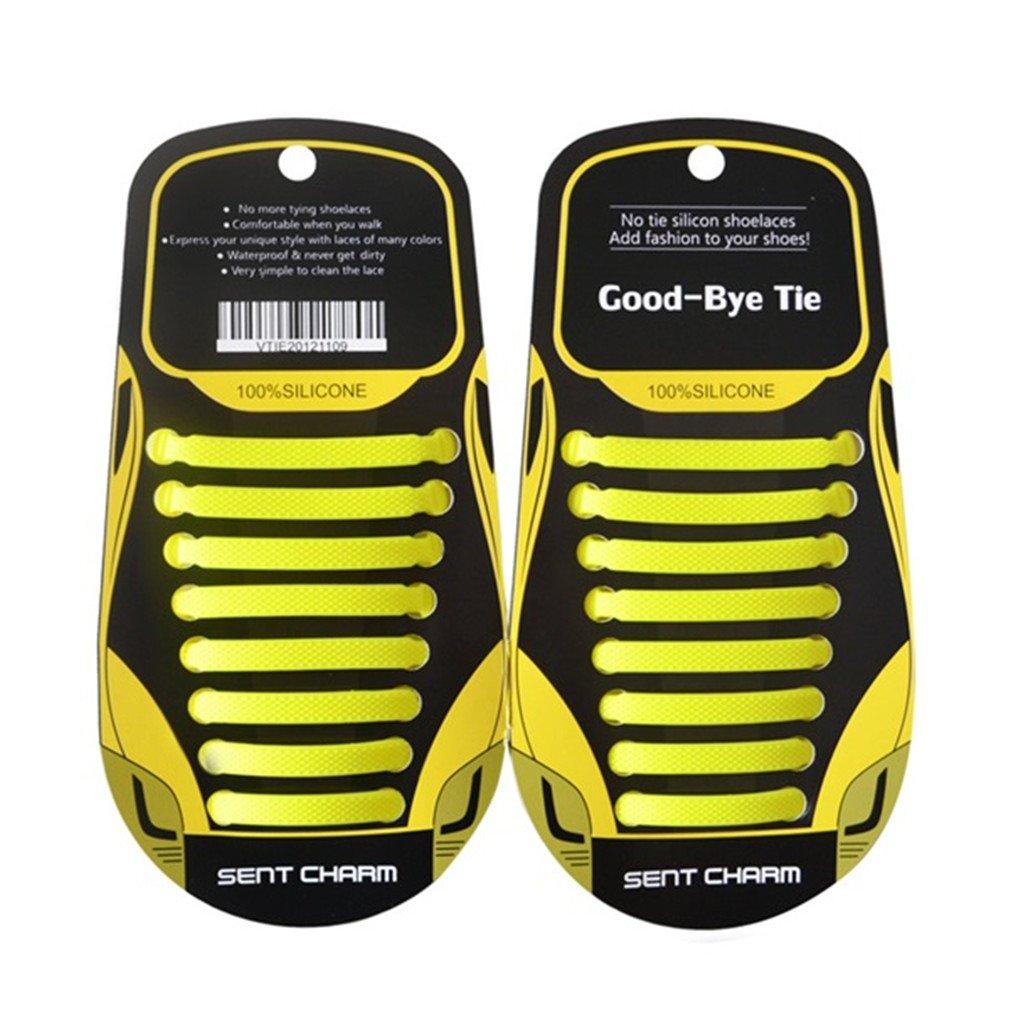 Shoelaces 16Pcs/Set Shoe Lace Fashion Running No Tie Elastic Silicone Shoelaces yellow