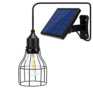 Outdoor Chandelier Solar Light Edison Bulb Hanging Metal Cage Lantern with 9.8ft Cord Solar Panel Lamp for Garden Yard Lighting(Warm White Lantern)