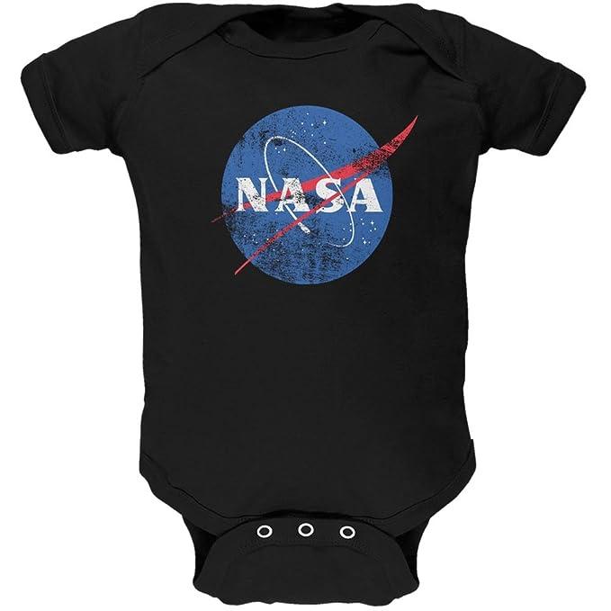 NASA Distressed Logo Black Soft Baby One Piece