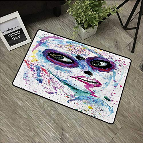 Bedroom door mat W24 x L35 INCH Girls,Grunge Halloween Lady with Sugar Skull Make Up Creepy Dead Face Gothic Woman Artsy,Blue Purple Our bottom is non-slip and will not let the baby slip,Door Mat Carp -