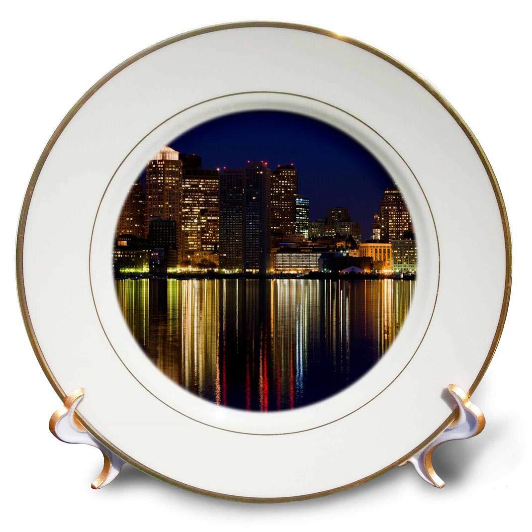 8 Dawn-Us22 Wbi0564-Walter Bibikow-Porcelain Plate Boston Financial District 3dRose cp/_91012/_1 Ma
