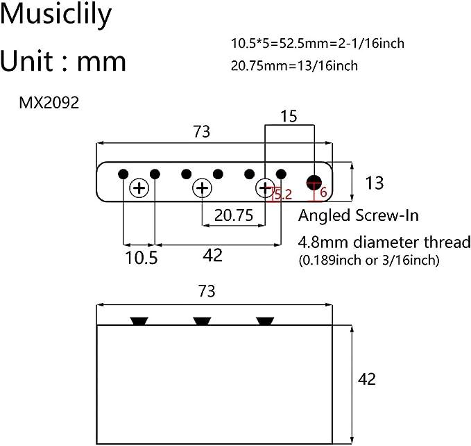 Set de 2 Chrome Musiclily Pro Inch Size Plastique Embouts Boutons Tige Vibrato Stratocaster Tremolo Arm Tips pour US//Mexique Strat Style