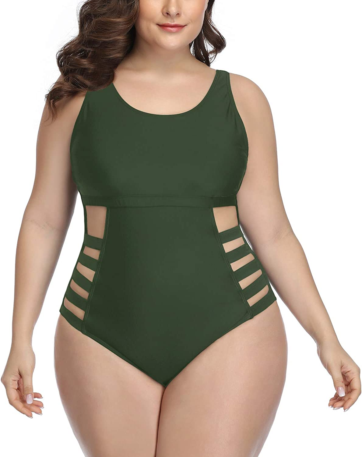 Softcloudy Women Plus Size Strappy Tummy Control Bandage One Piece Swimsuit U Neck Hollow Out Cutout Bathing Suits Swimwear