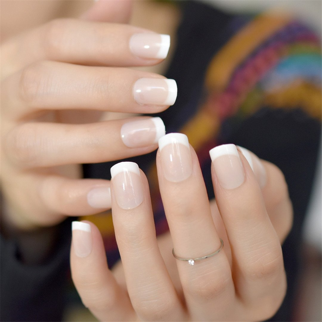 Short Acrylic French Nails Simply Shiny Beige White False Nail Tips