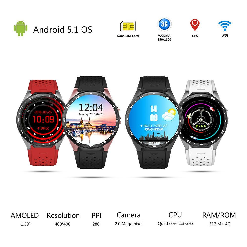 Amazon.com: T.Face KW88 Smart Watch Android 5.1 GPS 3G WIFI Smartwatch Mtk6580 Bluetooth SIM Android Camera Heart Rate Monitor Smart Watch (C): Cell Phones ...