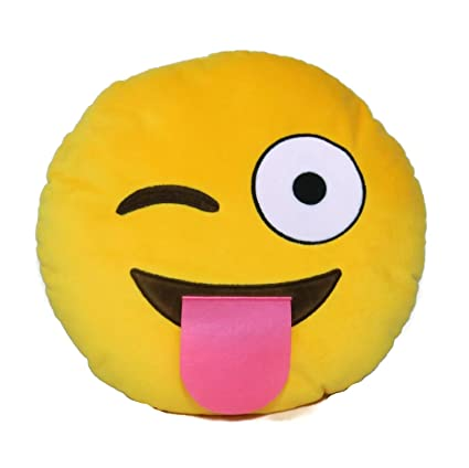 Cojín redondo de peluche, diseño de emoticono sonriente, juguete decorativo