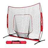 Powernet 7x7 Pro Net One Piece Frame | Baseball Softball Practice Net | Training Aid Hitting Pitching Batting Fielding Portable Backstop | Bow Style Frame | Non-Tip Weighted Base Frame