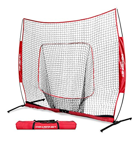 (PowerNet 7x7 PRO Net with One Piece Frame (Red) | Baseball Softball Practice Net | Training Aid for Hitting Pitching Batting Fielding Portable Backstop | Bow Style Frame | Non-Tip Weighted Base )