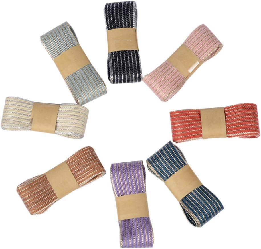 HEALLILY 6 Piezas de Tela de Arpillera de Yute Natural Cinta de Color Envoltura de Tela de C/á/ñamo Diy Material de Costura para Eventos de Boda Decoraci/ón de Fiesta 2 M