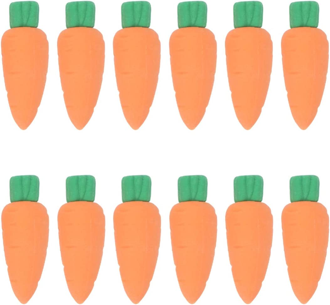 NUOBESTY Mini Carrots Erasers for Kids, Miniature Food Erasers, 30pcs Tiny Toys Mini Fruits Stationery for Classroom Rewards Party Favors