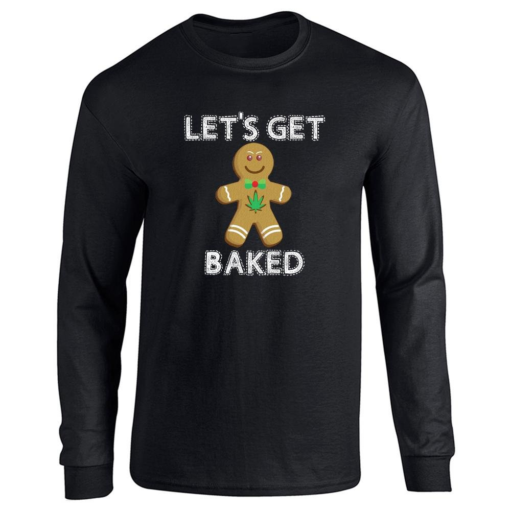 Pop Threads Let's Get Baked Gingerbread Man Funny Christmas Full Long Sleeve Tee T-Shirt