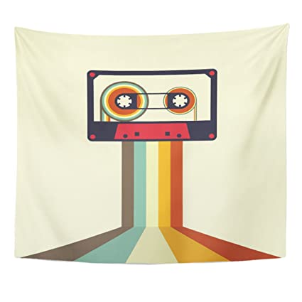 TOMPOP Tapestry Tape Cassette Retro Vintage Music Flat Recording Disco  1980S Home Decor Wall Hanging for Living Room Bedroom Dorm 50x60 Inches