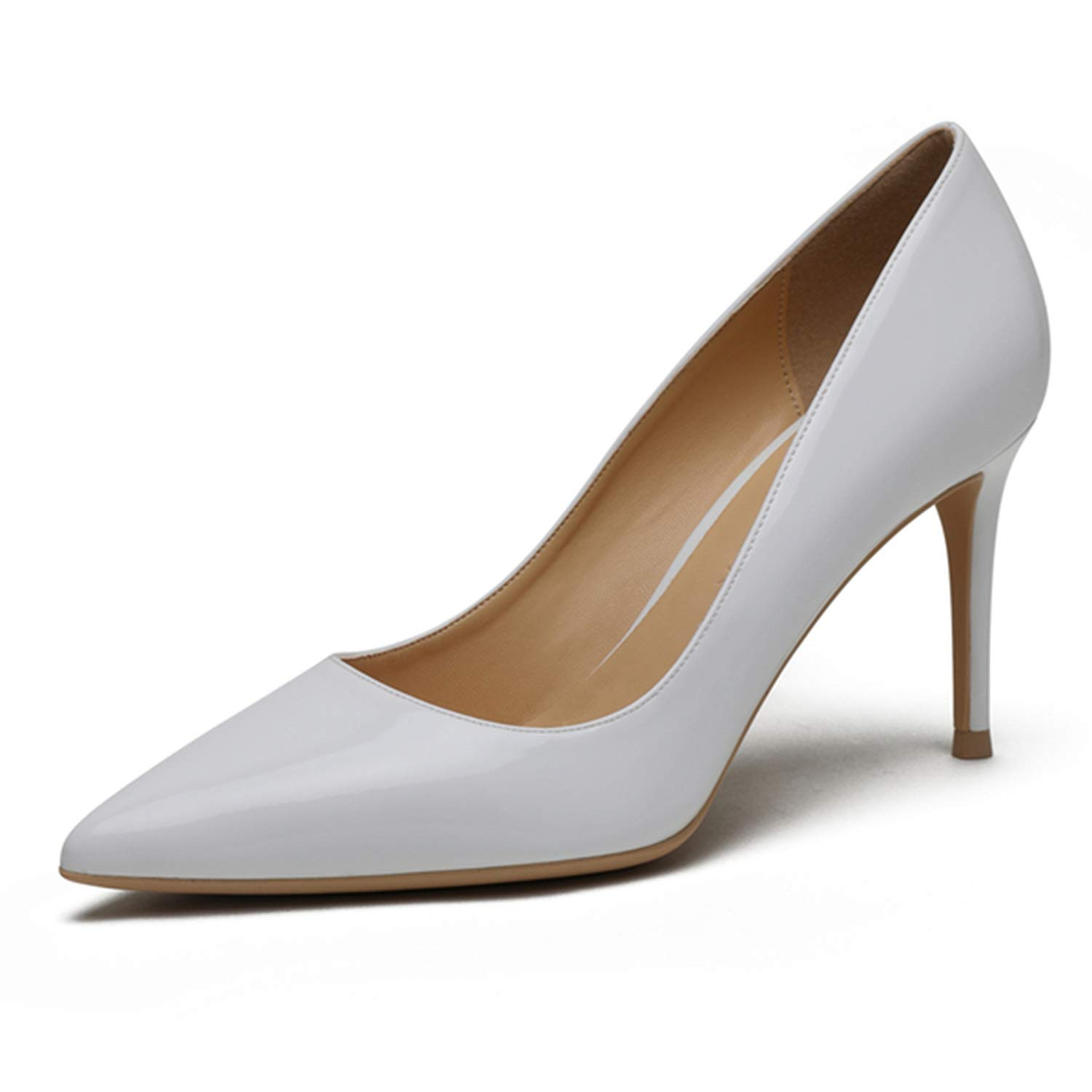 White Wedding shoes Women Pumps Patent Leather8Cm Thin Heel shoes for Women,K-318