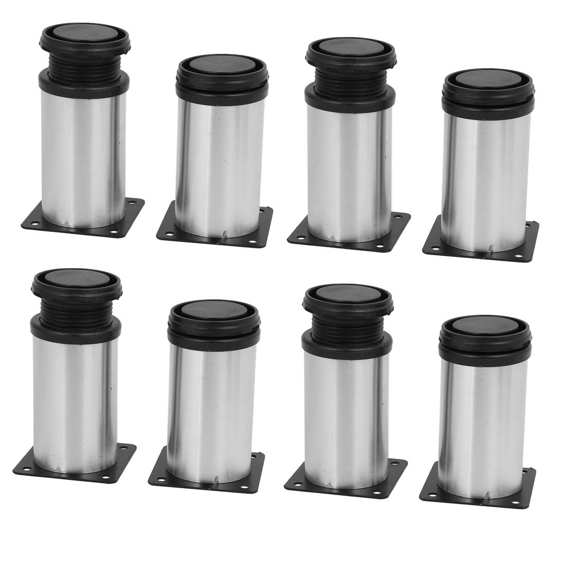 uxcell 50mm x 100mm Metal Adjustable Table Cabinet Feet Leg Round Stand 8PCS