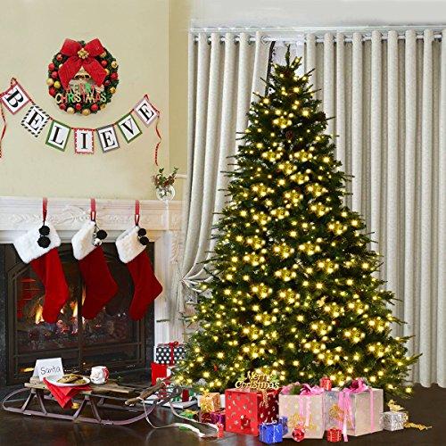 Goplus 7.5Ft Pre-Lit Artificial Christmas Tree Premium Spruce Hinged Tree w/ 540 LED Lights & Pine Cones by Goplus (Image #1)