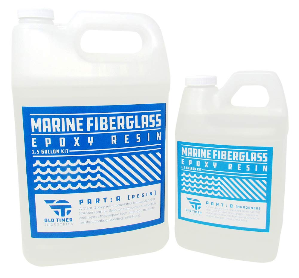 Clear Marine Epoxy Resin, 1.5 gal Kit for Fiberglass by OTI by Old Timer Industries LLC.