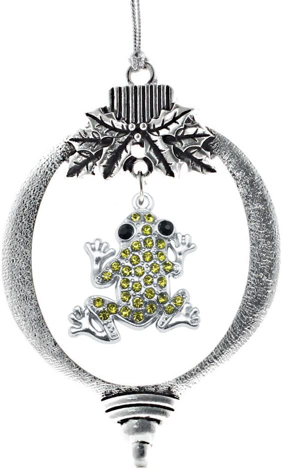 Inspired Silver - Green Frog Charm Ornament - Silver Customized Charm Holiday Ornaments with Cubic Zirconia Jewelry