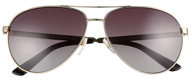 b266fd1fd8fe Amazon.com: GUCCI Aviator Sunglasses Metal Gold Polarized 61mm 0237 2281:  Clothing