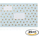 Cozymate Bubble Mailer with Address Lines, 6 x 10 Inches, Light Blue and Metallic Gold, Pack of 25, #0