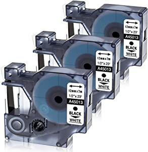 Oozmas Compatible Label Tape Replacement for Dymo 45013 S0720530 Work with Dymo LabelManager 160 280 Black on White 1/2 Inch x 23 Feet, 3 Cartridges
