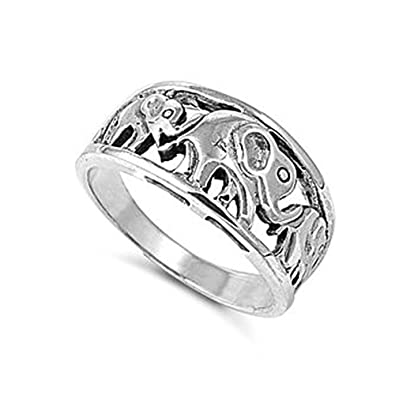 Amazoncom Sterling Silver Elephant Ring Jewelry