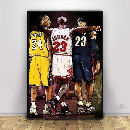 Kobe Bryant Michael Jordan Lebron James Poster Baloncesto Arte ...