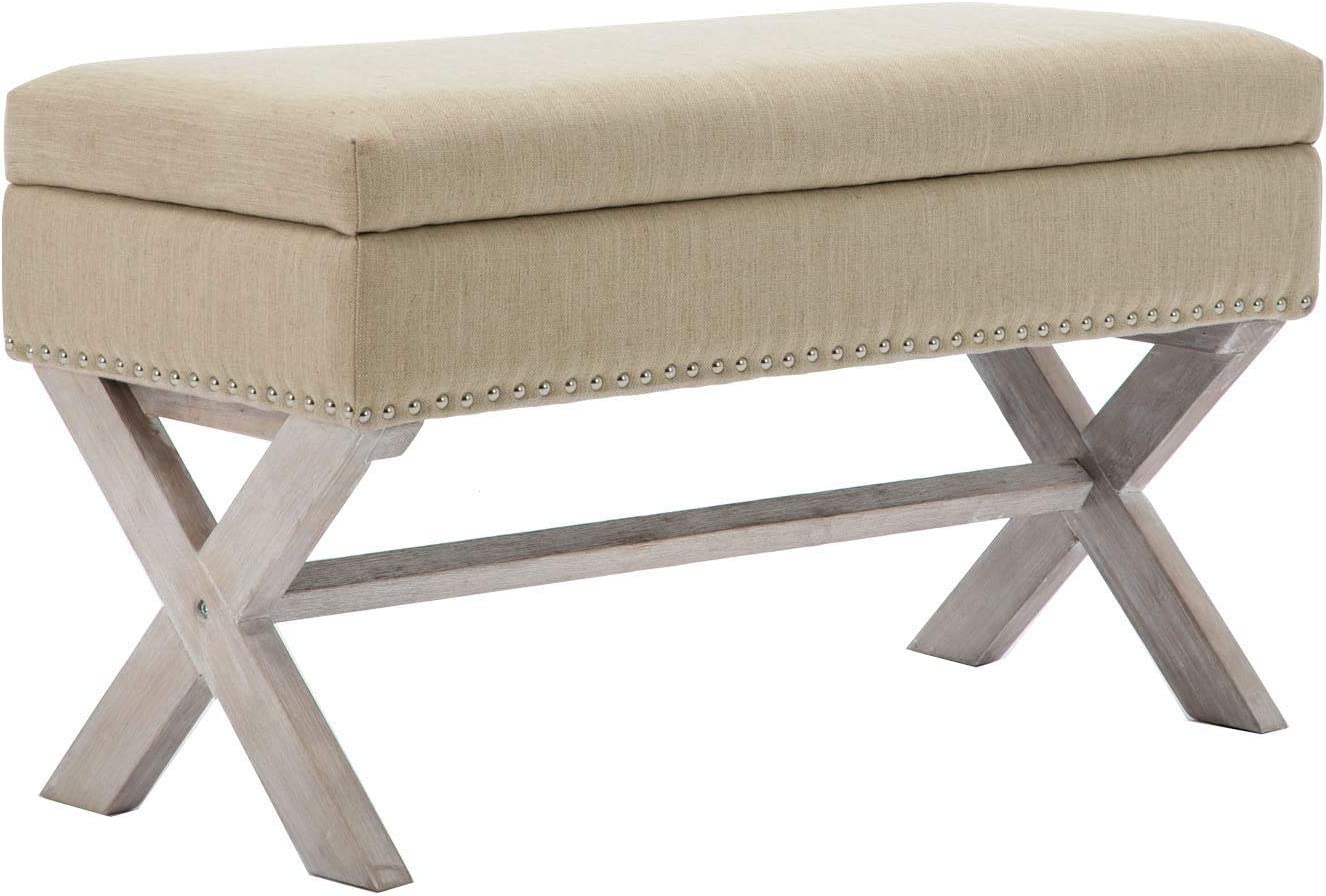 Amazon Com Chairus Fabric Upholstered Storage Entryway Bench 36 Inch Bedroom Bench Seat With X Shaped Wood Legs For Living Room Foyer Or Hallway Beige Kitchen Dining