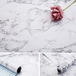 Marble Paper,17x100 inch Self Adhesive Wallpaper Waterproof Gloss PVC Vinyl, Oil Proof,Marble White/Gray Granite Paper,Marble Vinyl Paper for Old Furniture Cover Surface,Countertop,Kitchen,Shelf Liner