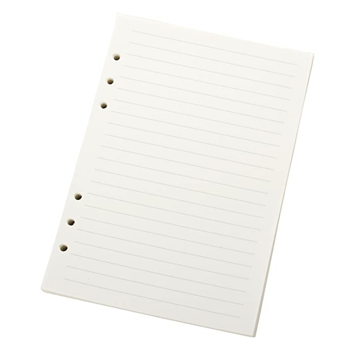 Ancicraft Refill Paper A5 5.7 X 8.25 Inches 6 Hole Lined Creamy White Paper for Loose Leaf Binder Notebook 100 Sheets / 200 Pages