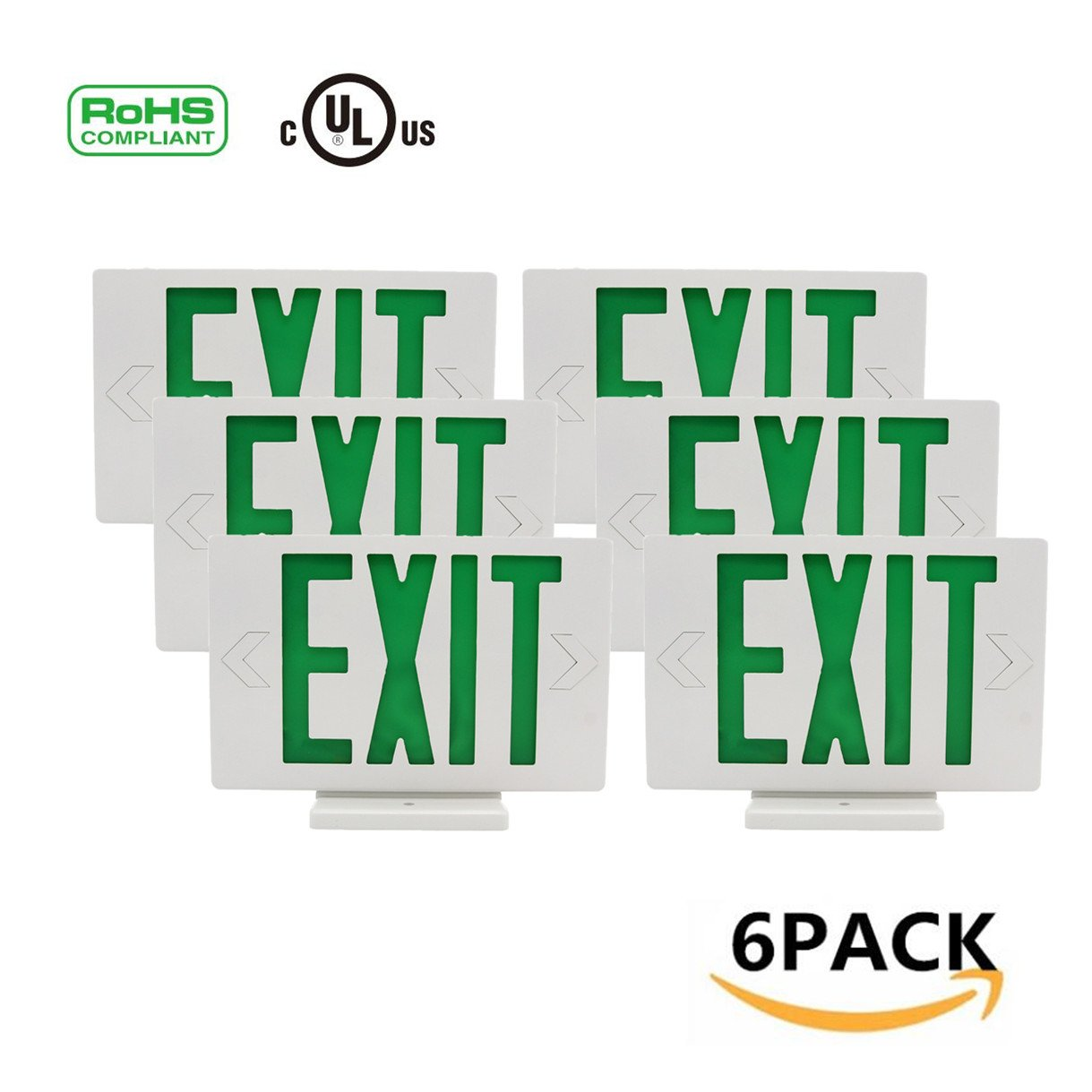 Ainfox 6 Pack LED Exit Sign Emergency Wall Light, Back -up Letter Cover (green/6pack)
