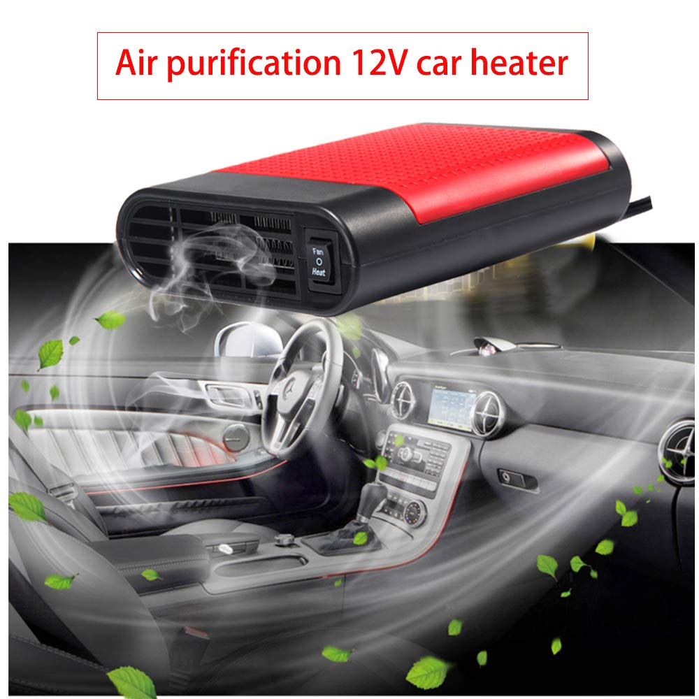 WANYIG Car Heater 12V Portable Winter Auto Car Van Heater Defroster 150W Car Heating Defroster Demister Cooling Fan Heater Red, with Air Purification
