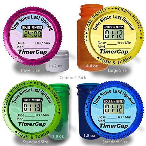 TimerCap - Stopwatch Cap Pill Organizer and Bottles, Medication Reminder, (4 Pack Combo Pack: 1 Large, 2 Standard, 1 Travel) EZ -Twist/CRC