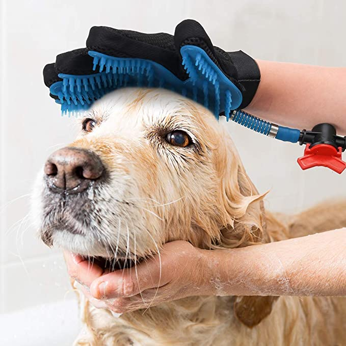 Pet Shower Sprayer Bathing Tool for Dog Cat Bathing Massage Glove with 3 Faucet
